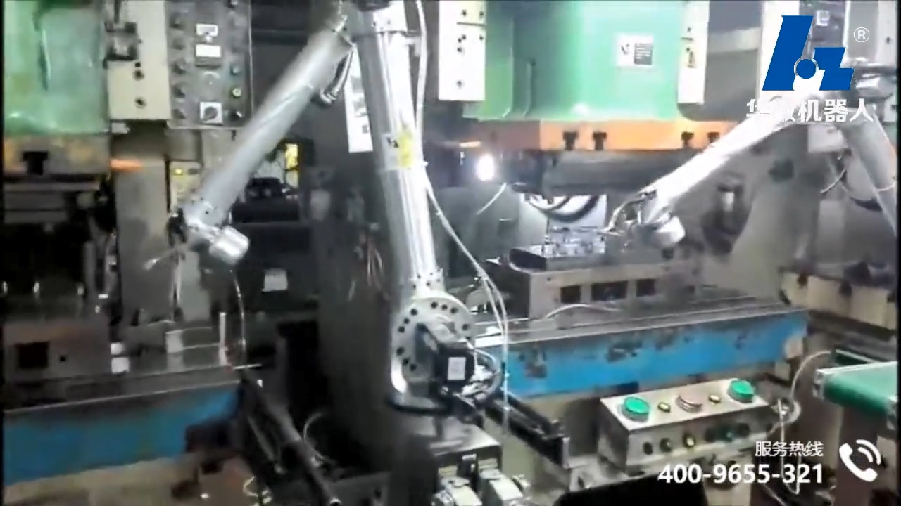 BR6 Bi-spin Robot video of Robot stamping production line